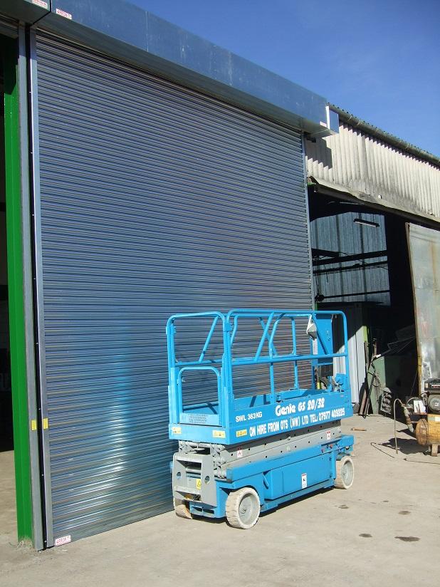 Blue Galvanised Steel Industrial Shutter Door - Arrow Security Shutters Limited